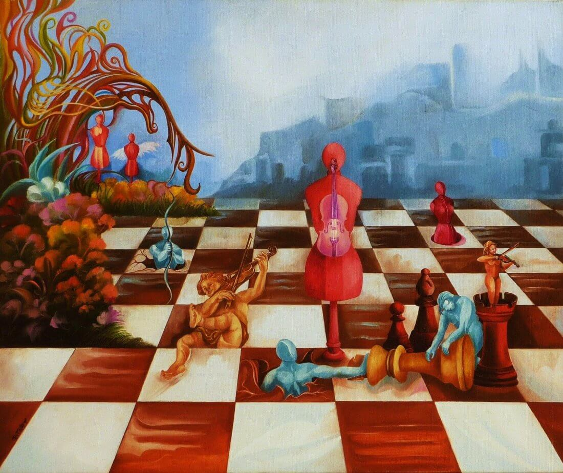 THE CHESS BOARD, 2002-2003Oil on Canvas550 x 460 mm (app 22 x 18 inch)